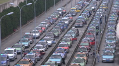Long taxi waiting line at Shanghai airport, transportation in China Stock Footage