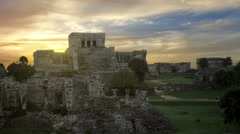 Tulum mayan ruins at sunrise no people Stock Footage