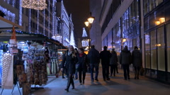 People passing by street stalls on Christmas in Budapest Stock Footage
