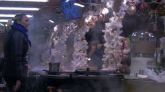 A food stall on Christmas in Budapest Stock Footage