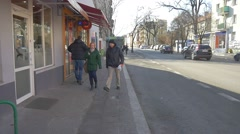 Saint Valentine's Day People Walk by Ozimska Street Opole Pedestrians Walk on a Stock Footage