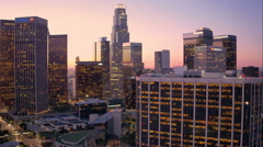 Aerial View of Down Town LA Tracking left Stock Footage