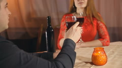 man and woman romantic evening in restaurant love candle Valentine's Day - stock footage