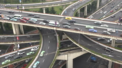 Busy interchange, converging roads, rush hour traffic, highway, Shanghai China - stock footage