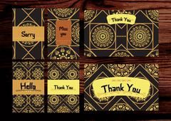 Thank you, miss you, sorry cards set. Isolated on the wood backg Stock Illustration