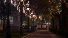 Alley with Christmas decorations and lit trees on Christmas in Budapest Stock Footage