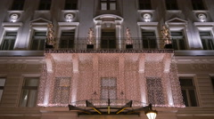 Beautiful lighten building on Christmas in Budapest - stock footage