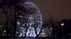 The Budapest Eye seen at night on Christmas in Budapest Stock Footage