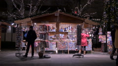A souvenirs stall at a Christmas market in Budapest Stock Footage