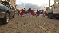 Dancers in Traditional Dress during Carnival in San Antonio, Ecuador Stock Footage