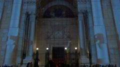 Amazing light projections on Saint Stephen Basilica on Christmas in Budapest Stock Footage