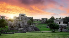 Tulum mayan ruins site at sunrise Stock Footage