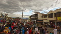 Moving through Crowds during Carneval in San Antonio, Ecuador Stock Footage
