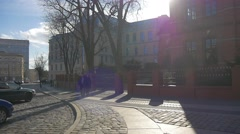 Couple People Walk by Square Ozimska Street Valentine's Day Opole Cobblestone Stock Footage
