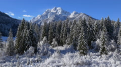 Aerial - Beautiful wintry landscape with snowy pine trees and mountains Stock Footage