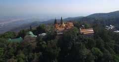 CINEMATIC 4K AERIAL TILT FLY BY OF WAT PHRA THAT DOI SUTHEP - stock footage