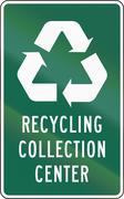 United States MUTCD road sign - Recycling collection center - stock illustration