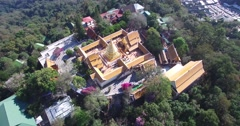 CINEMATIC 4K AERIAL CIRUCULAR FLY AROUND OF WAT PHRA THAT DOI SUTHEP TEMPLE Stock Footage