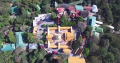 Stock Video Footage of 4K AERIAL OVERHEAD CRANE SHOT OF WAT PHRA THAT DOI SUTHEP TEMPLE