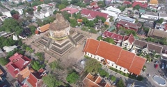 CINEMATIC 4K AERIAL SEQUENCE - FLY OVER TILT + REVERSE - WAT CHEDI TEMPLE - stock footage