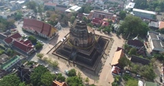 CINEMATIC 4K AERIAL POINT OF INTEREST FLY AROUND - WAT CHEDI TEMPLE Stock Footage