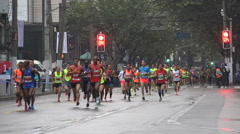 Front runners at the Shanghai Marathon event in China Stock Footage