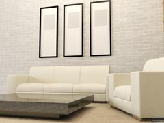 White modern living room interior Stock Illustration