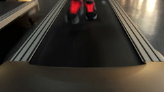 Feet of active person exercising on sports equipment, running on treadmill - stock footage