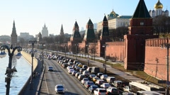 Moscow, Russia - near the Kremlin Traffic on  quay Stock Footage