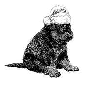 Rottweiler with santa claus hat - stock illustration