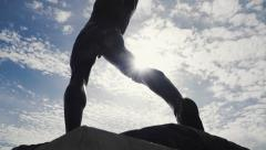 Classical greek sculpture/statue,disc thrower,sports,olympic games,crane shot - stock footage
