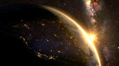 Planet Earth with a spectacular sunrise - stock illustration