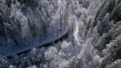 Aerial - Sunlit road in winter Stock Footage