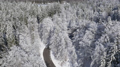 Aerial - Road among land in snow - stock footage