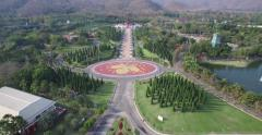 4K OVERHEAD SHOT FLY BY OF ROYAL PARK RAJAPRUEK PARK AND PALACE WALKWAY Stock Footage