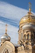 Domes of assumption Church on Vasilievsky island, St. Petersburg Stock Photos