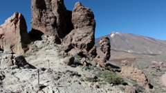 Roques Garcia formations with Roque Cinchado famous rock. Teide, Tenerife Stock Footage