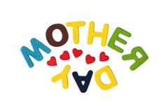 Colorful title MOTHER'S DAY on the white background - stock photo