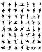 silhouettes of ballerinas - stock illustration