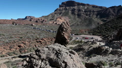 Tourist place, Teno massif, Teide National Park. Roque Garcia, Tenerife, Canary  Stock Footage