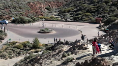 Square with circle road are after parking area in the Roque Garsia rock, Teide Stock Footage
