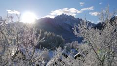 Aerial - Beautiful Alpine landscape on sunny morning - stock footage