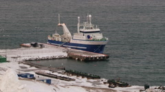 View to the ships in the port of the arctic town of Longyearbyen, Norway. Stock Footage