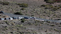 Crossroad at the TF-21 driveway. Turn to Teleferico - Teide Cable car. Tenerife Stock Footage