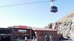 Teleferico cable car makes it easier for visitors to ascend Teide mount, Canary - stock footage