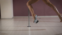 Young professional pole dancer Stock Footage