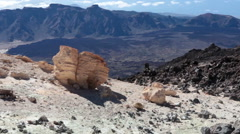 Rocky trails with volcanic formations are on southeast slope of Teide volcano - stock footage