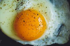Fried egg on the pan Stock Photos