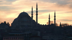 Sunset behind the mosque in Istanbul Turkey Stock Footage
