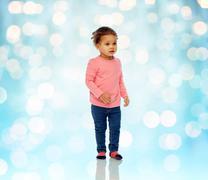 Beautiful little baby girl walking Stock Photos
